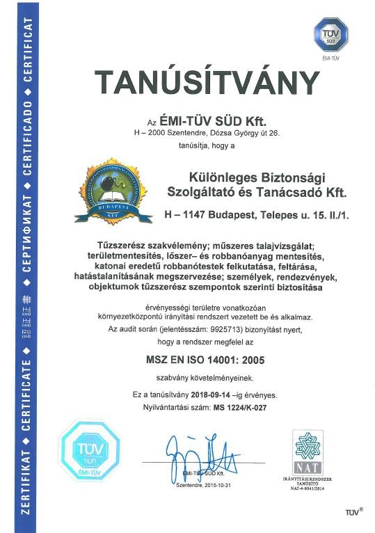 Tanúsítvány - ISO 14001
